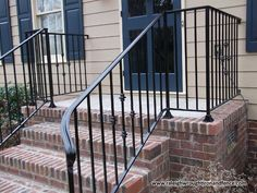 Wrought iron handrails for outside steps railings gates for Porch durham