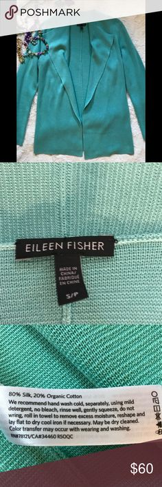 """Eileen Fisher cascading open front cardigan. S Eileen Fisher cascading open front cardigan. Turquoise. Made of silk and organic cotton. Size small. Approx measurements - bust 18"""", sleeve 26"""", length from neck to hem 29 1/2"""".   Looks great with turquoise shell for sale in my closet!  Perfect condition. Eileen Fisher Sweaters Cardigans"""