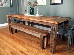 pretty gathering of unassailable wood dining tables at Modish Living. Including rustic dining table, oak dining table, industrial dining table, farmhouse dining table, etc. Dining Table Design, Dining Room Table, Dining Bench, Rustic Table, Farmhouse Table, Reclaimed Wood Tables, Reclaimed Wood Dining Table, Natural Wood Table, My New Room