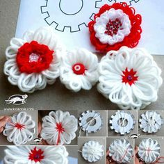 Yarn flower tutorial - must see if the idea works in a flower loom Loom Flowers, Knitted Flowers, Diy Flowers, Fabric Flowers, Basic Embroidery Stitches, Hand Embroidery Videos, Baby Crafts, Crafts For Kids, Woolen Flower