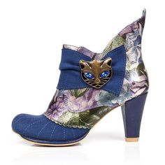 IRREGULAR CHOICE - MIAOW - RRP £119.00 . Colour: Blue Floral (AD). The ever popular 'Miaow' boots look great worn with skirts or trousers. The iconic cat boot is simply puuuurfect! This edgy style features textured fabric, a sophisticated mid-heel and the unique cat face trim, a true IC classic. | eBay!