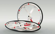 Folding bikes are the problem-solvers of urban transportation, making commuting, storage, and security a breeze. The crossbreed wheel was designed and is under further development by london-based Duncan Fitzsimons (a member of Vitamins design collective) in collaboration with innovation RCA lab at the Royal College of Art. From Velo: Bicycle Culture and Design published by #gestalten (http://shop.gestalten.com/velo-717.html) #bikes #products #graphic