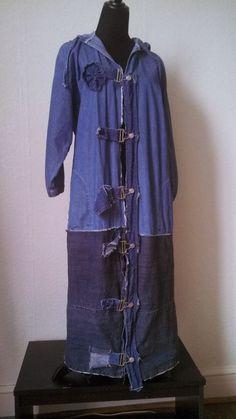 Very Long Denim Hooded Duster Coat Jacket Hoodie Eco by Gypsyetta, $59.00