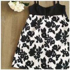 LOFT sundress Bold black and white floral print - super cute and worn just once! Discrete side zipper, fully lined. Shell: 100% cotton. Lining: 100% polyester LOFT Dresses Midi