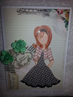 Cute card using Julie Nutting paper doll stamps. Kiwikards.blogspot.com