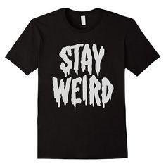"""""""Stay Weird"""" Creepy Cute Pastel Goth Graphic T-Shirt ❤ liked on Polyvore featuring tops, t-shirts, graphic design t shirts, gothic t shirts, graphic design tees, goth tops and pastel t shirts"""
