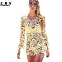 90c8afdcfd ❤~Crochet இڿڰۣ-ڰۣ— ❀ ✿ Sexy Hollow Out Lace Crochet Long Sleeve Bikini Smock