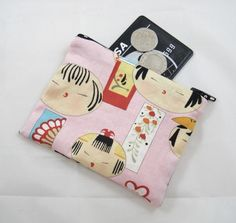 Japanese Kokeshi Dolls Fabric Coin Purse - Free P&P £5.00