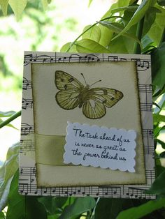 Butterflies and Music Notes- I'd stamp the butterfly directly onto distressed sheet music.