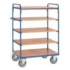 Etagewagen met houten legborden - 5 legborden - Draagvermogen 500 kg