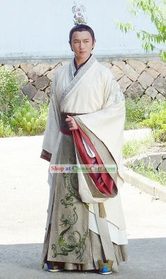 Ancient Chinese Han Dynasty Prince Dragon Robe Clothes Costumes Complete Set for Men