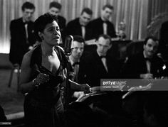 American jazz singer Billie Holiday (1915 - 1959), also known as 'Lady Day', during a performance. Original Publication: Picture Post - 7380 - Billie Holiday - unpub.