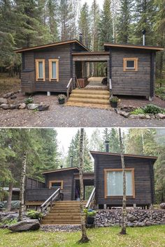 Little House Plans, A Frame House Plans, Small House Plans, Little Houses, Tiny House Loft, Tiny House Living, Cabins In The Woods, House In The Woods, Eco Construction