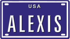 """Alexis USA mini metal embossed license plate name for bikes, tricycles, wagons, kids doors, golf carts, baby strollers, pedal cars. Over 400 names available. Type in """"name"""" usa plate in search. Your name will show up. by Blue Sabre Inc.. $3.50. Aluminum not plastic. Outdoor or indoor use. Very durable. You are buying a 2 1/4"""" x 4"""" embossed aluminum License plate. This plate is embossed on a blue coated aluminum plate with white letters, suitable for long life outdoor o..."""