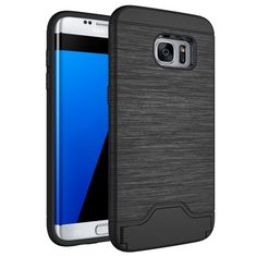 [$1.93] For Samsung Galaxy S7 Edge / G935 Brushed Texture Separable TPU + PC Combination Back Case with Card Slot & Holder(Black)
