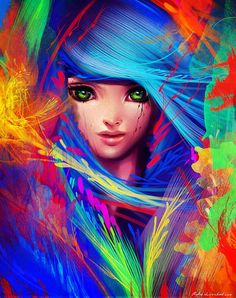 Colorful Digital Art by Benjamin Cehelsky. Beautiful colors...tattoo inspiration.