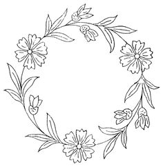 Free advanced coloring pages, Adult Coloring pictures Hand Embroidery Patterns Free, Embroidery Stitches Tutorial, Embroidery Flowers Pattern, Simple Embroidery, Embroidery Hoop Art, Diy Bordados, Wreath Drawing, Coloring Pages, Adult Coloring
