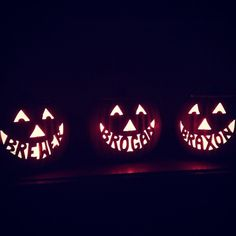 Pumpkin carving idea for Halloween - Childrens names in the mouth part - jack o lantern - these are my girlfriends son's names. my friend has skills! #skills #halloween #creative