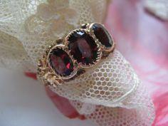 Circa 1880 10K Garnet Trilogy Ring     2.5 - 3 CT T.W.  Men's Ring