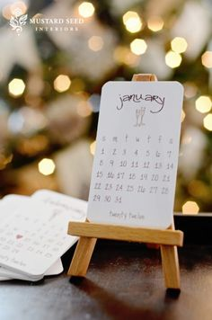 calendar cards on easel - would be so cute on my desk!