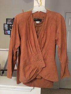 Vintage 1980s Womens 100% Genuine Tan Leather Skirt And Blazer Size 8    eBay