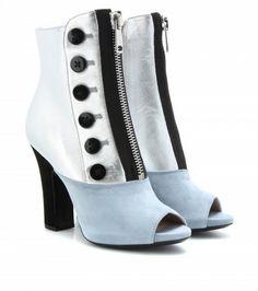 Miu Miu - Leather and suede peep-toe boots  - mytheresa.com $950