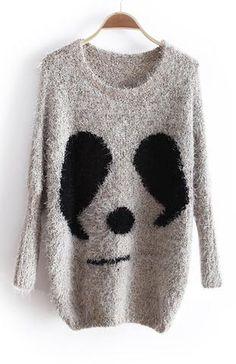 Beige Long Sleeve Panda Print Batwing Mohair Sweater - Sheinside.com