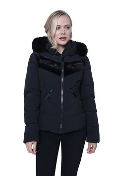 Fitted ski jacket with velvet detailing and a full fur hood. The Goldbergh team have developed this body hugging, flattering cosy ski jacket with a long zipper and stylish flat fronted pockets plus a hidden pocket for the old lift pass. Ski Jackets, Jackets For Women, Winter Jackets, Black Ski Jacket, Ski Wear, Winter 2017, Fur Trim, Cosy, Skiing