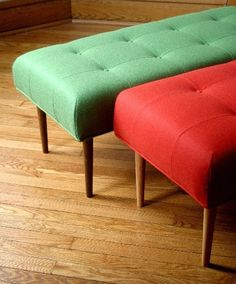 ok, I want this --------- Custom made bench in Knoll upholstery by FlotsamFurniture on Etsy, $375.00