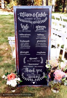 Wedding Program | Chalkboard | Modern Calligraphy | Wedding Signage ||   This Delightful Design by Katie Clark  http://www.katieclarkk.com/