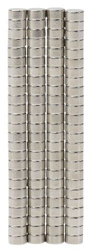 """BYKES 100 Neodymium Super Strong Extremly Powerful Rare Earth Refrigerator Magnets - Perfect for Metal Collar Stays - 1/8"""" x 1/16"""" Disc N48. This Is Not A Toy. Thick. 0.8 lbs. Magnets may chip and crack if allowed to snap together. Keep Out Of Reach Of All Children. They are magnetized through the thickness. Neodymium Iron Boron (NdFeB) Rare Earth Magnets. Their individual pull force is approximately 0.8 lbs. Diameter x 0.0625. Pulling Force. Magnets Are Brittle."""