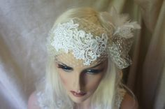 Beautiful unique bride head piece , Russian veil gorgeous embroidery flower applique , soft goose feathers and a beautiful vintage brooch , Great Gatsby Style headpiece !!