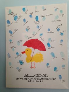 We did this instead of a guest book at the baby shower. It is now in his nursery :) Duck theme, finger prints