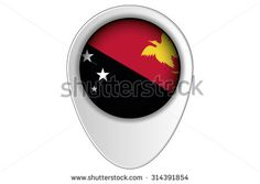 A 3D Map Pointer Flag Illustration of the country of  Papua New Guinea