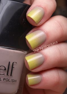 Gradient manicure with E.L.F Desert Haze + NYC Lexington Yellow