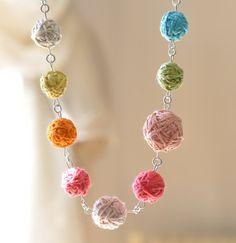 Crochet Necklace Statement Necklace Fabric por stellacreations