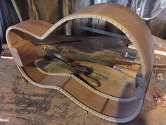 Guitar build. Cherry Parlor guitar sides bent, kerfing & side braces.   https://www.facebook.com/luthierwright/