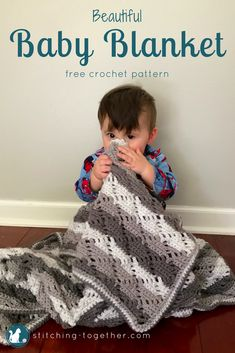 Are you looking for gender neutral baby blanket ideas? This beautiful baby afghan pattern has a lovely combination of stitches sure to make a treasured heirloom and perfect for a unisex gift. See the free pattern now! #crochet #crocheting #babyblanket #crochetbabyblanket #crochetbaby #crocheters #freepattern