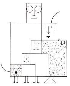 La famille, l'artiste lui fait une tête au carré... / Squared-head family ! / / By Saul Steinberg.