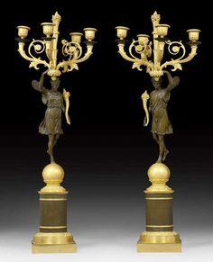 """1 PAAR GIRANDOLEN """"FLORE ET ZEPHYRE"""", Empire, Paris um 1815/"""