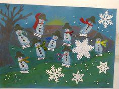 Bonecos de neve - pintura de pés de crianças de 1 ano