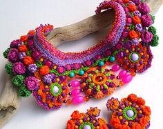mexican necklace, frida kahlo necklace,big bold chunky necklace, statement choker, colorful ethnic necklace, pom pom necklace, freeform