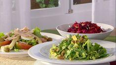 Presentación de recetas: ensalada mixta, ensalada de crudités y ensalada verde.