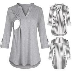 New Women Maternity Casual Wrap V Neck Long Sleeve Tops Nursing Blouse Tee Shirt Clothes For Pregnant Women, Clothes For Women, Breastfeeding Shirt, Long Sleeve Tops, Short Sleeve Dresses, Casual Maternity, Maternity Clothing, Nursing Tops, Shirt Blouses