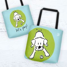 """jojopowpow Schnoodle Tote Bag """"Let's play!"""" Collection $26.00 USD"""