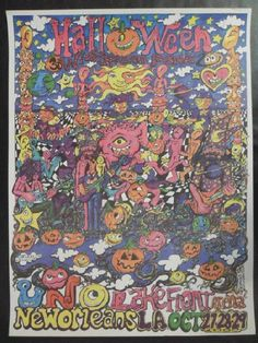 Original concert poster for Widespread Panic at The UNO Lake front Arena n New Orleans, LA in 2000. 18 x 24 inches. Signed by the artist Scramble Campbell.