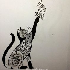 Best Geometric Tattoo - Rose cat tattoo design by Betty Rose #BettyRose #cat #kitten #rose #flower (Phot...