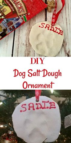 DIY Dog Salt Dough Ornament: A Fun Christmas Decoration! This DIY dog salt dough ornament recipe is such a simple and fun way to make Christmas decorations from your dog's paws. Diy Christmas Gifts For Family, Homemade Christmas Gifts, Christmas Crafts, Christmas Tree, Christmas Ideas, Homemade Ornaments, Diy Ornaments, Family Crafts, Salt Dough Christmas Decorations