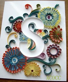 Sylized Floral Quilled Paper Custom Monogram. 8 x 10. by aCoCC
