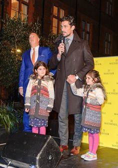 LONDON, ENGLAND - NOVEMBER 27:  David Gandy turns on the Mount Street Christmas lights on November 27, 2014 in London, England.  (Photo by David M. Benett/Getty Images for Mount Street Mayfair)
